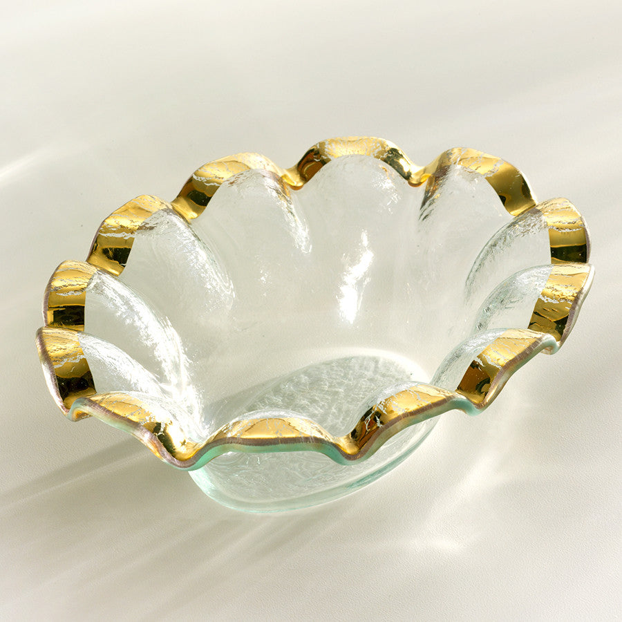 ruffle dip small bowl for parties clear glass gold rim
