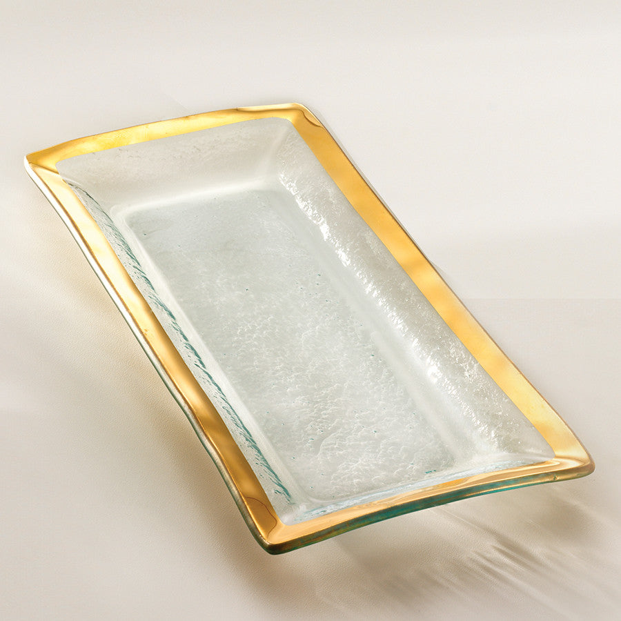 glass appetizer tray with a 24k gold band