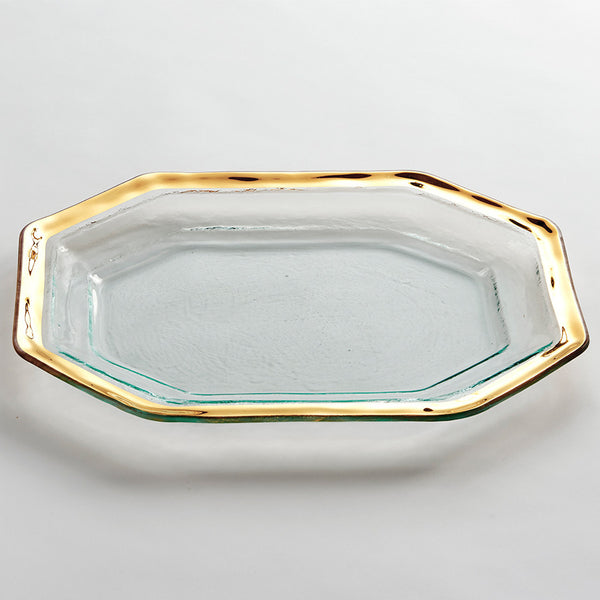 Glass Steak Serving Tray with a 24k gold band