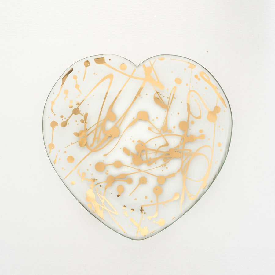 Glass heart plate, with 24k gold splatters, best-selling gift