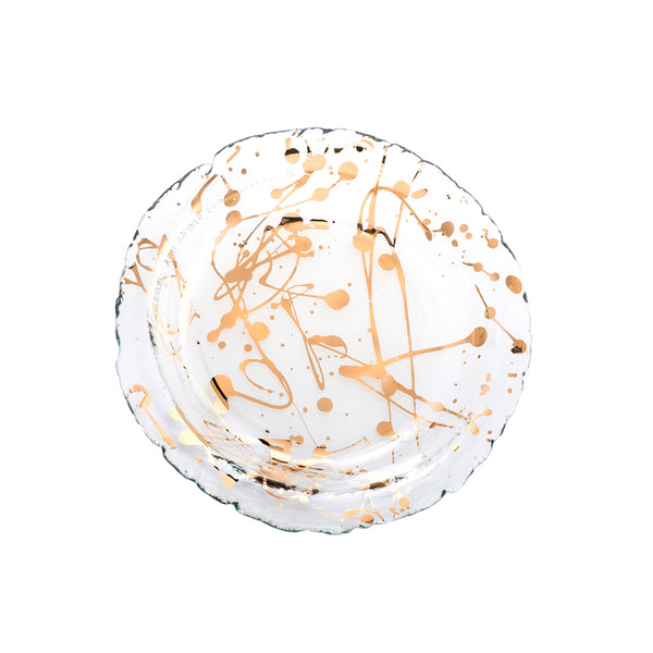 Jaxson small glass bowl with 24k gold splatters