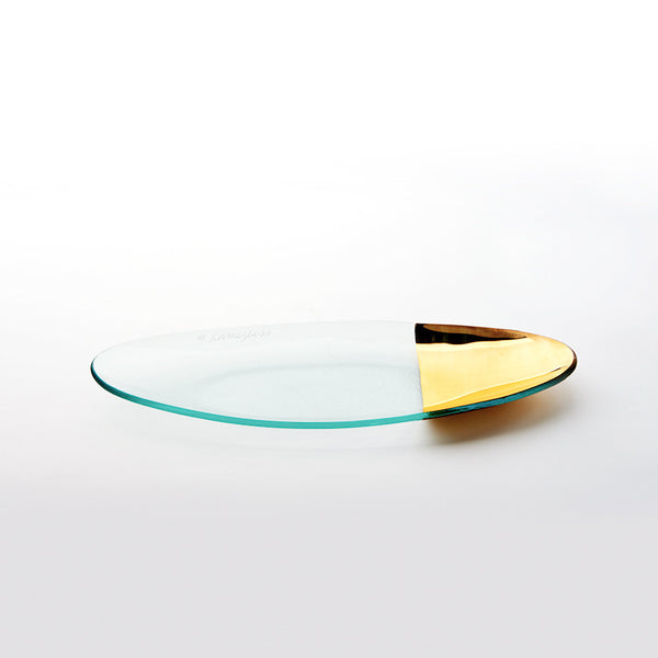 Mod oval glass server with 24k gold