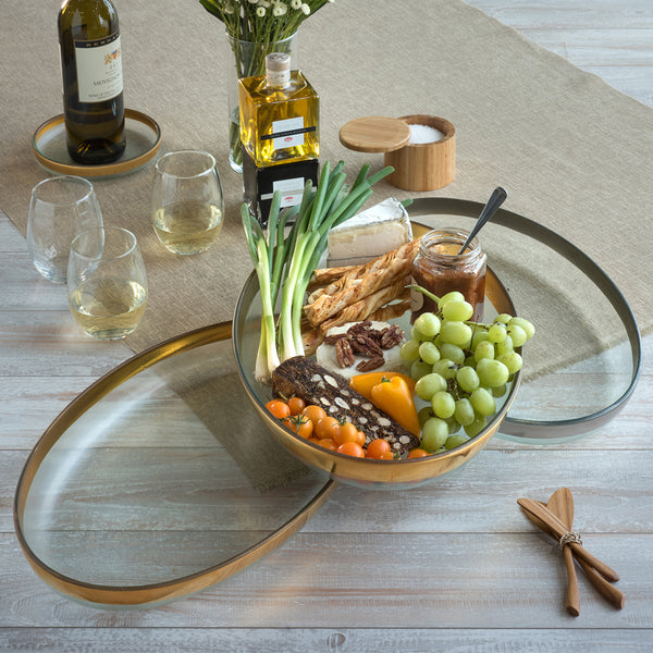 Large Oval Glass Platters, Serving Trays w/ Gold Rim | Mod