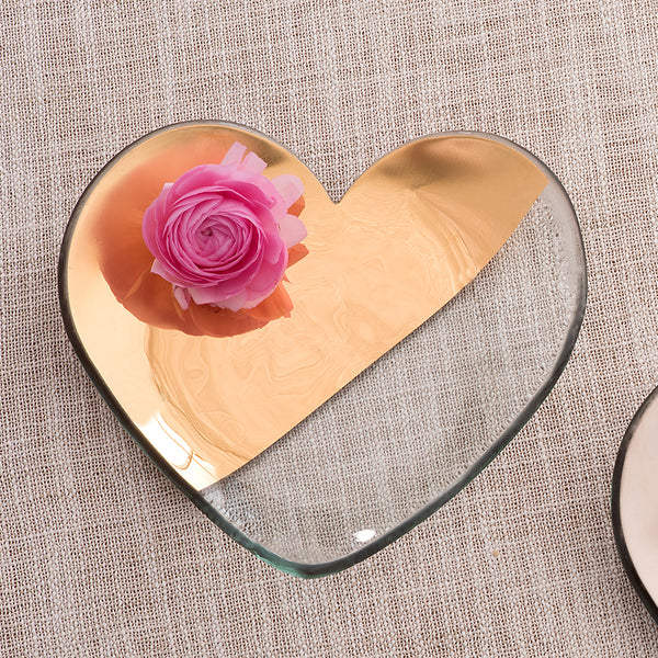 Annieglass glass heart plate with two thirds 24k gold