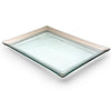 Handmade glass martini trays, hand painted with a thick platinum band