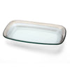 rectangular platinum rimmed clear glass tray
