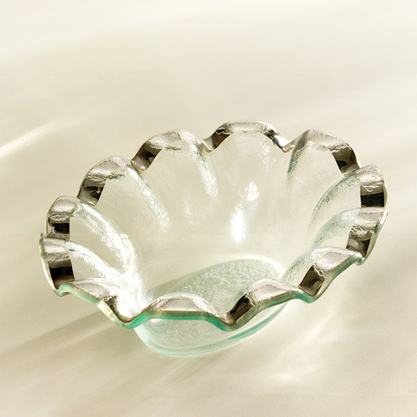 annieglass platinum rim clear glass small dip bowl