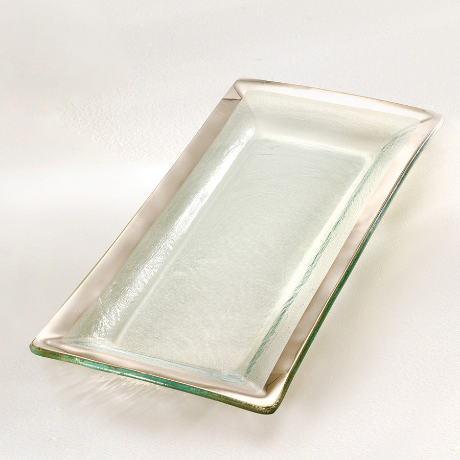 Graphic Tray Handcrafted From Ivory And: Handmade Glass Appetizer Tray, Gold Band