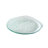 salt dinner plate clear glass grainy texture