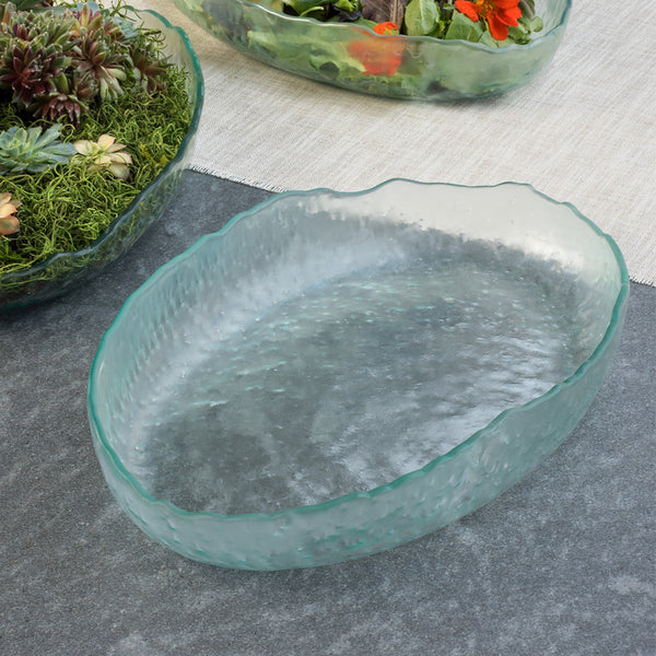 Clear Glass Oval Serving Bowls, Salt by Annieglass