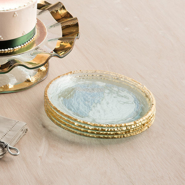 Annieglass Edgey small glass salad plates, 24k gold edge