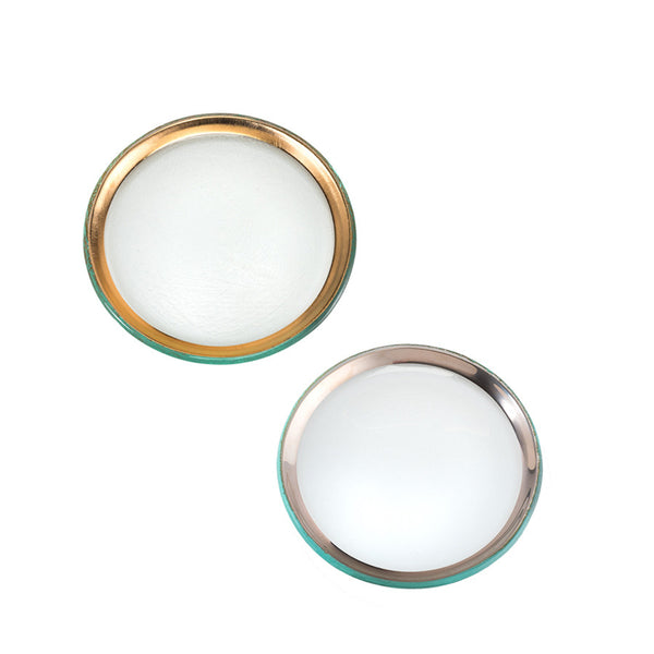 "6"" glass plates with 24k gold band, platinum band"