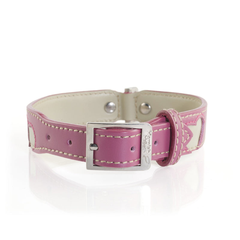 Hamish McBeth Hearts Pink Leather Collar and matching Lead