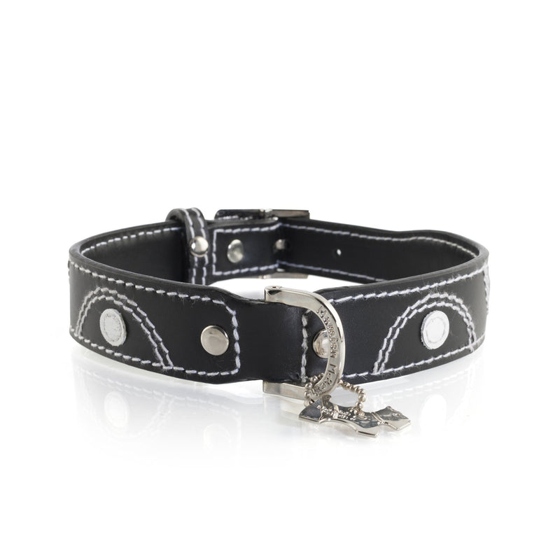 Hamish McBeth Keado Black Leather Dog Collar