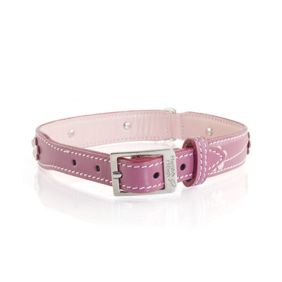 Hamish McBeth Lucy Pink Leather Dog Collar and Lead with Flowers