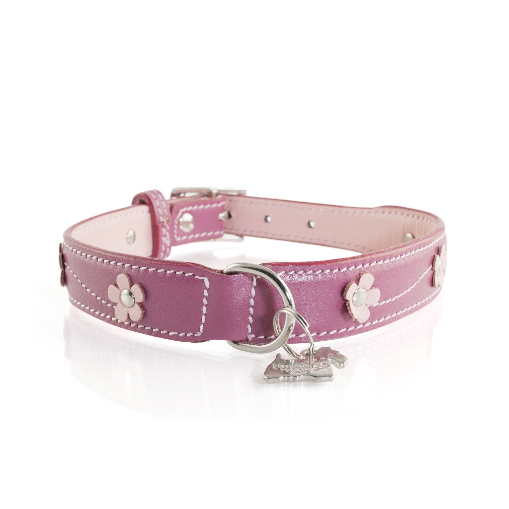 Lucy Pink Leather Dog Collar With Flowers Designer Dog Collar