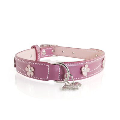 Hamish McBeth Lucy Pink Leather dog collar with flowers