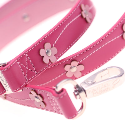 Hamish McBeth Lucy Pink Leather Lead with Flowers