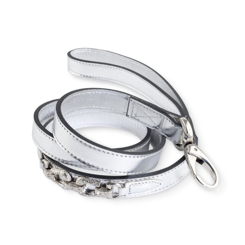 Hartman & Rose After Eight Metallic silver Italian leather Dog Collar and Lead