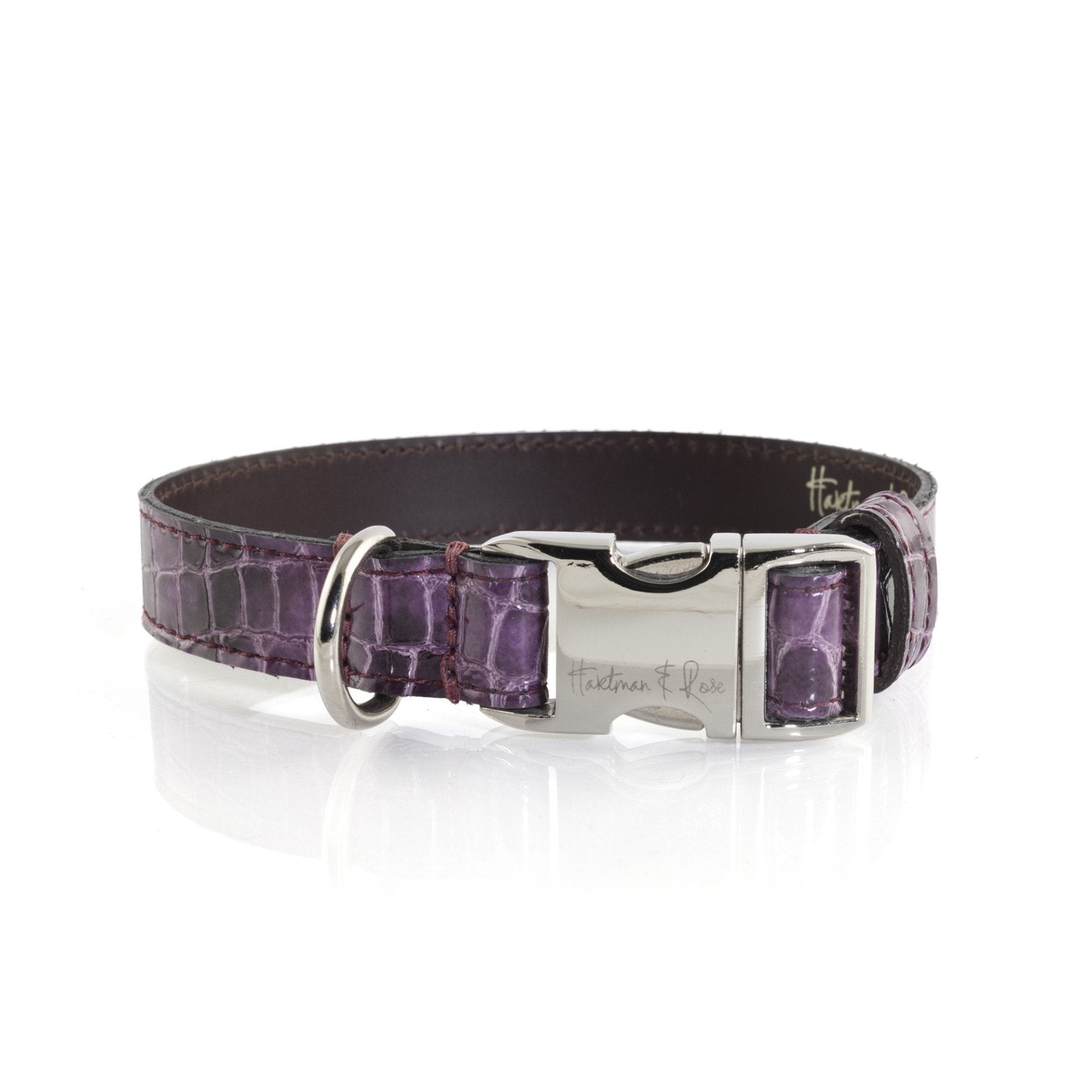 Hartman & Rose Contemporary Purple Leather Dog Collar