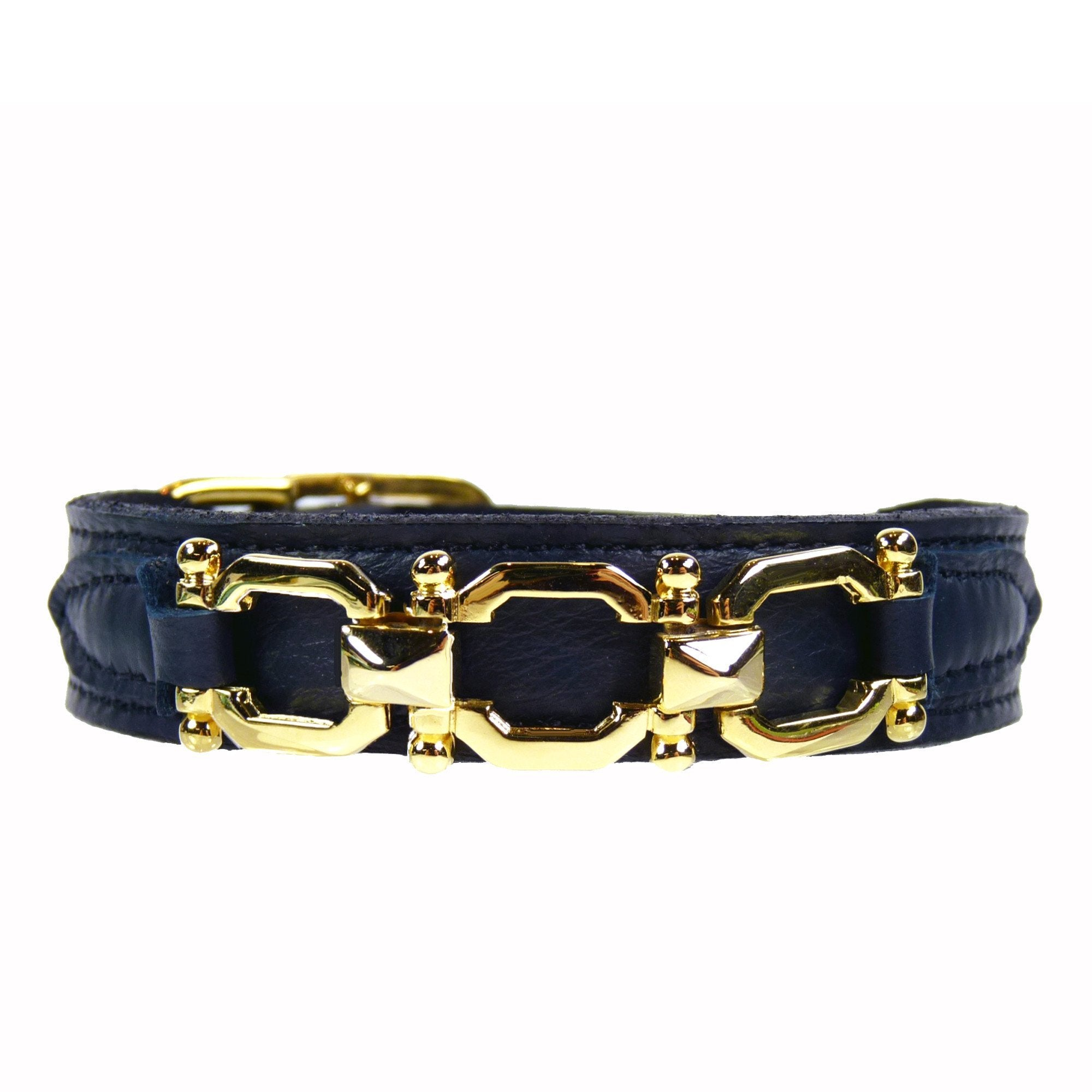 Hartman & Rose Designer Dog Collar in French Navy leather with Angular Gold Three Link Icon
