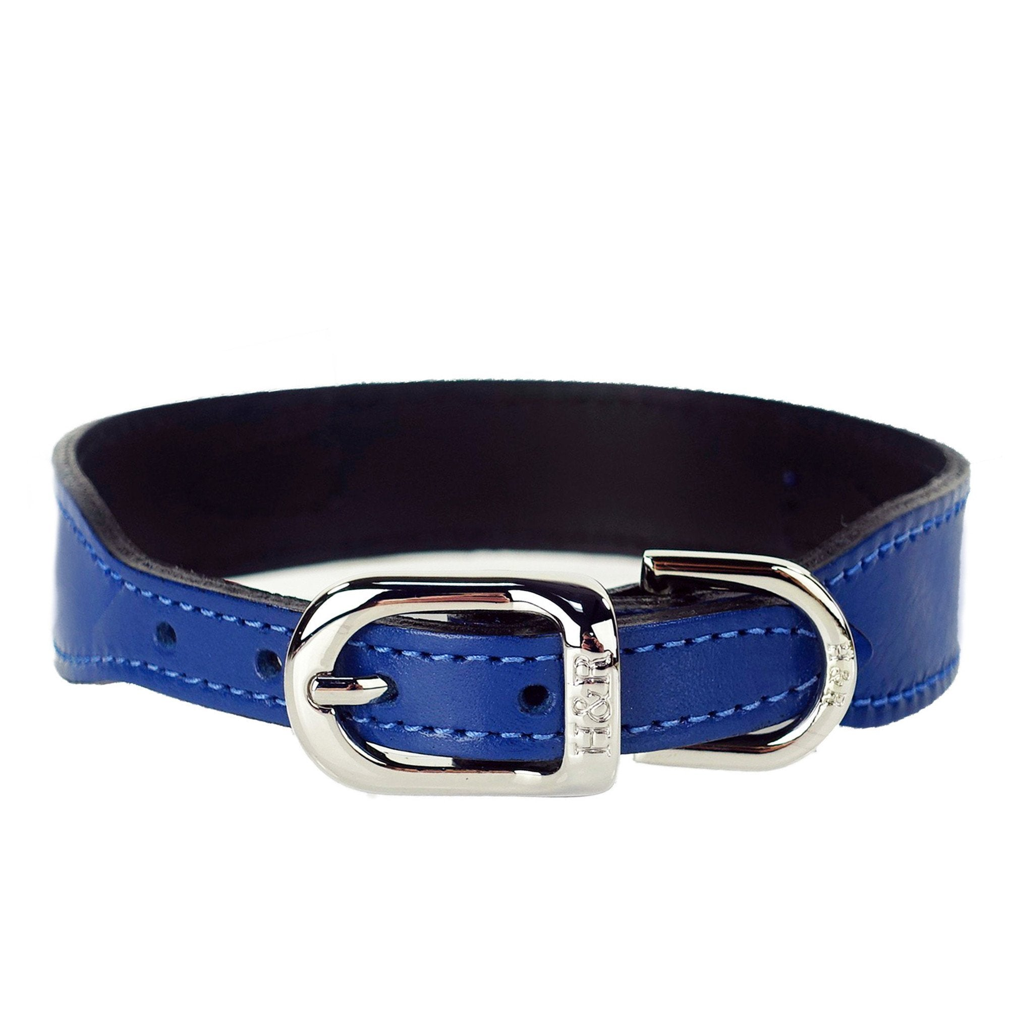 Hartman & Rose Designer Dog Collar in Italian Cobalt Blue Leather with Nickel Hardware