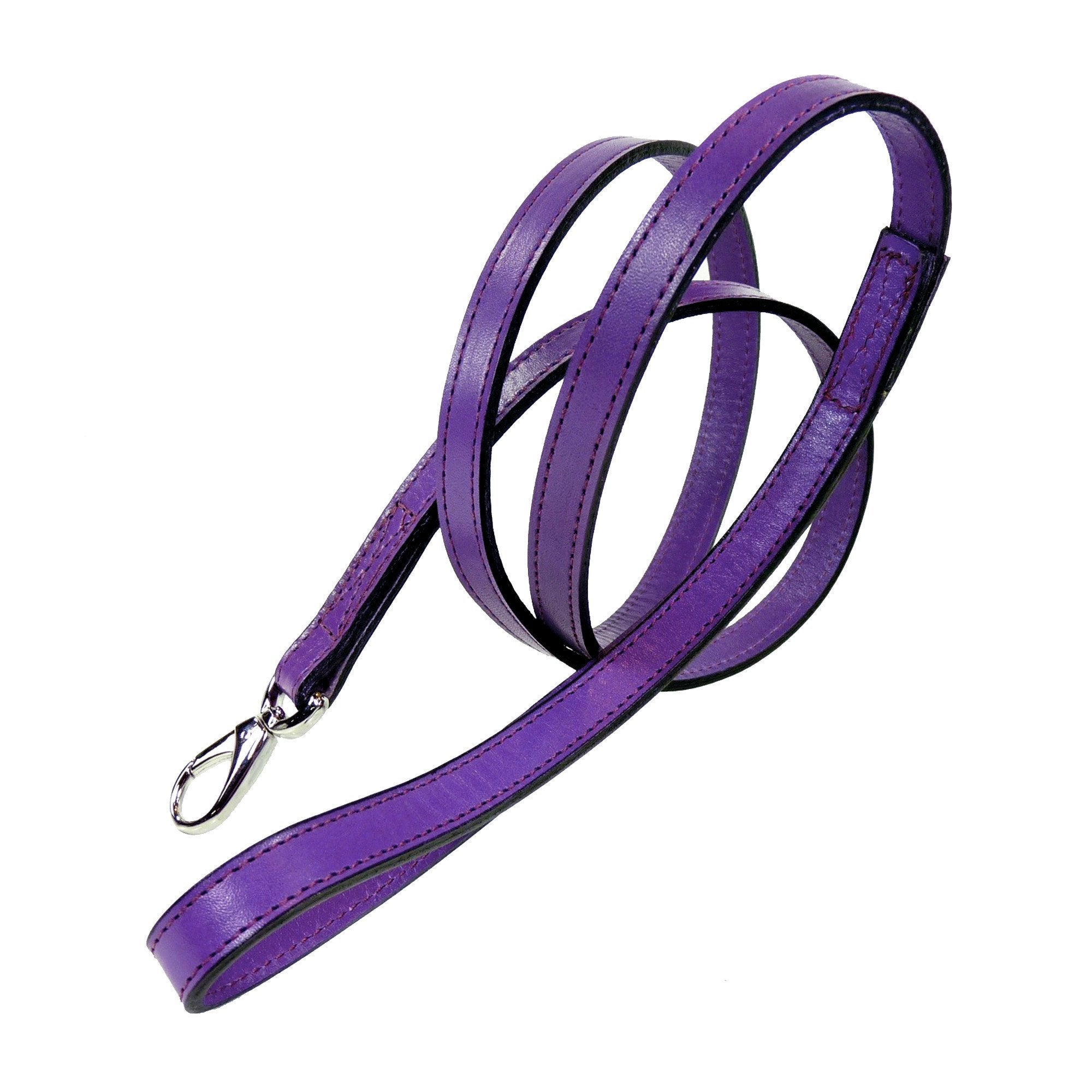 Hartman & Rose Dog Lead in Italian Grape Leather with Nickel Hardware