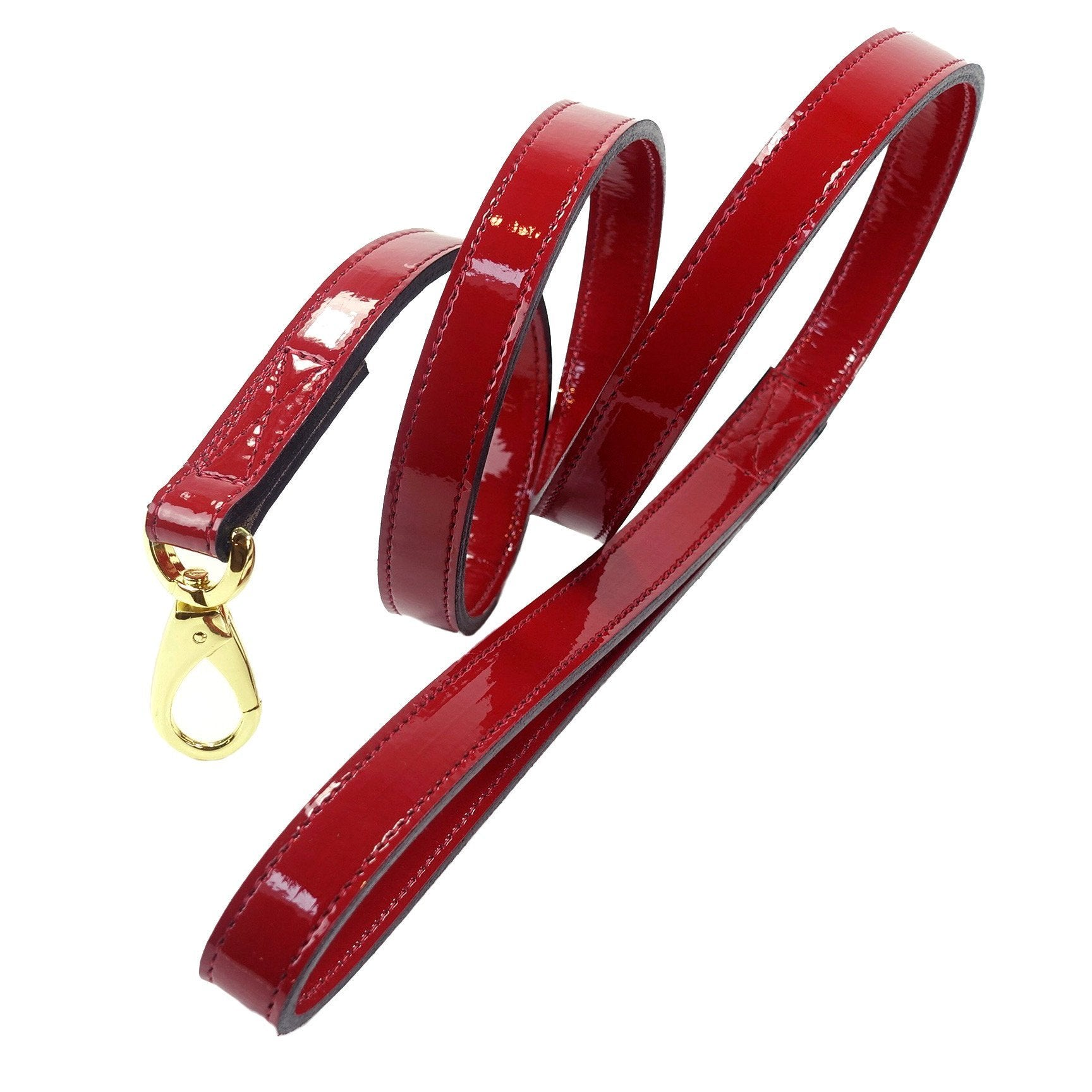 Hartman & Rose Dog Lead in Red Patent Leather with Gold Italian Hardware