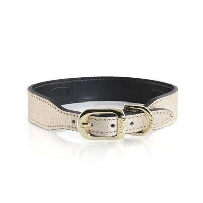 Hartman & Rose Haute Couture Art Deco leather collar and lead in Metallic Gold