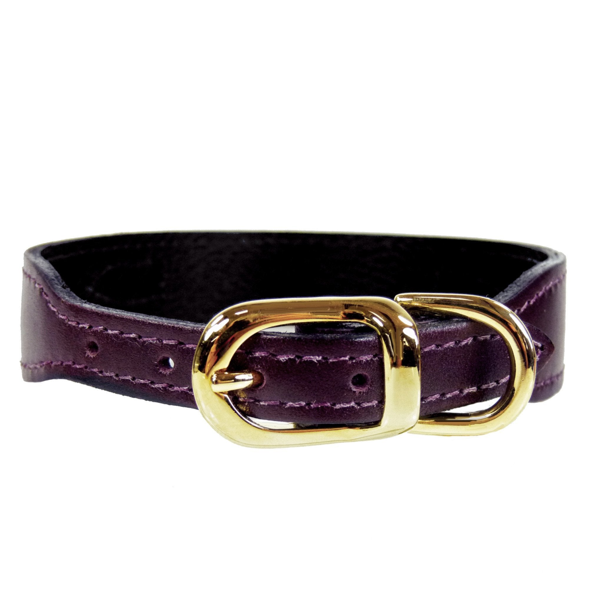 Hartman & Rose Italian Burgundy Leather - Designer Dog Collar with Gold Hardware