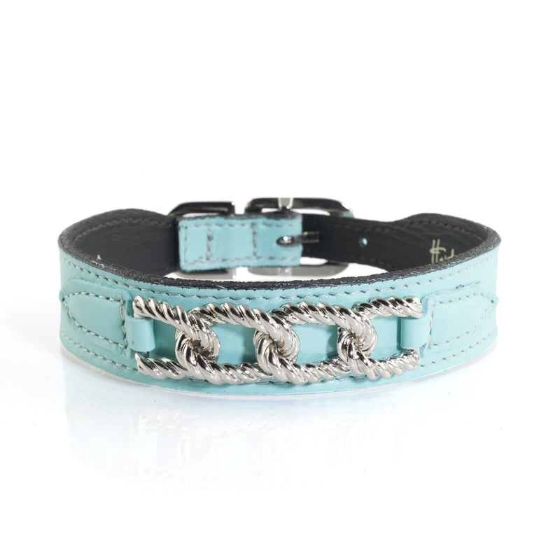 Hartman & Rose Mayfair Turquoise Leather Dog Collar and Lead
