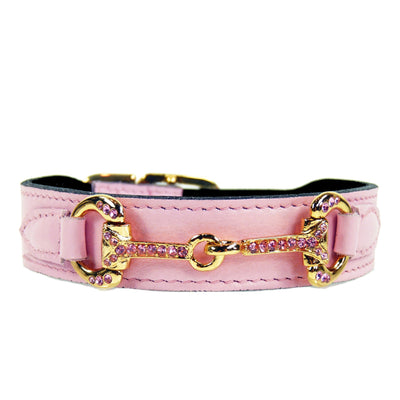 Hartman & Rose Sweet Pink Leather Dog Collar with Rose Swarovski Crystals Icon -Gold Hardware