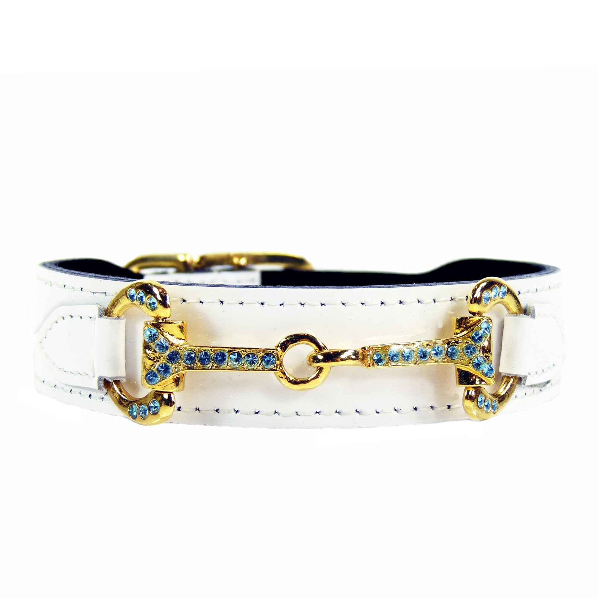 Hartman & Rose White Patent Leather Dog Collar With Aquamarine Swarovski Crystals Icon- Gold Hardware