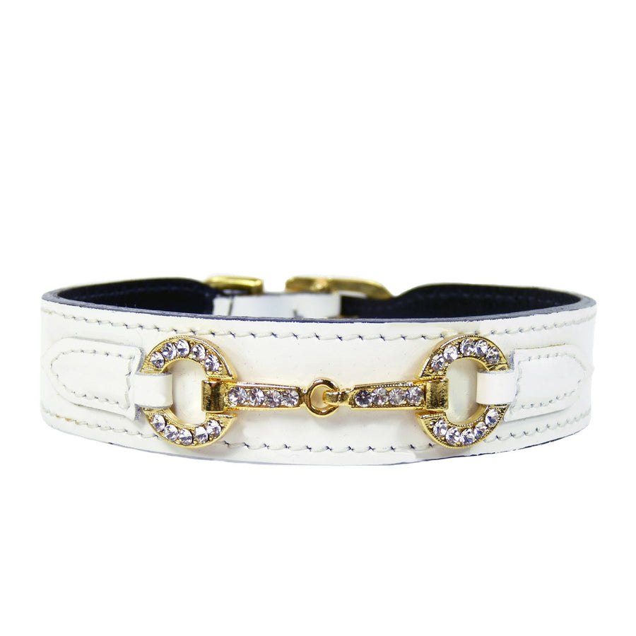 Hartman & Rose White Patent Leather Dog Collar With Clear Swarovski Crystals Icon - Gold Hardware
