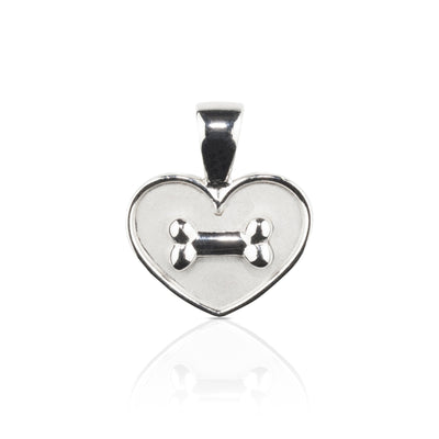 Lisa Welch Dog Themed Jewellery -  Bone on Heart Sterling Silver Pendant