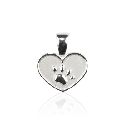 Lisa Welch Dog Themed Jewellery - Paw on Heart Sterling Silver Pendant