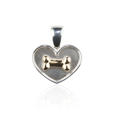 Lisa Welch Dog Themed Jewellery - Sterling Silver and 18KT YG Bone on Heart Pendant