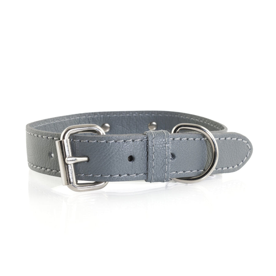 Max Bone Jason Leather grey Dog Collar and Lead