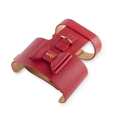 Moshiqa Bijou Red Leather Dog Harness with Gold Hardware