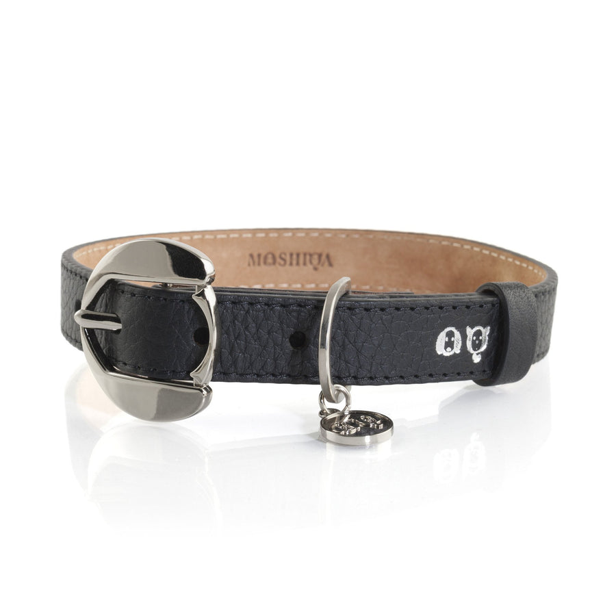 Moshiqa Black and Silver Leather Dog Collar and Lead