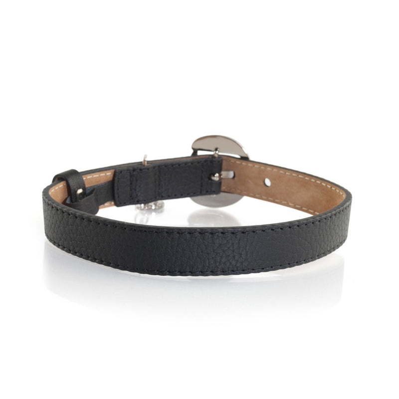 Moshiqa Black Leather Designer Dog Collar with Silver Hardware
