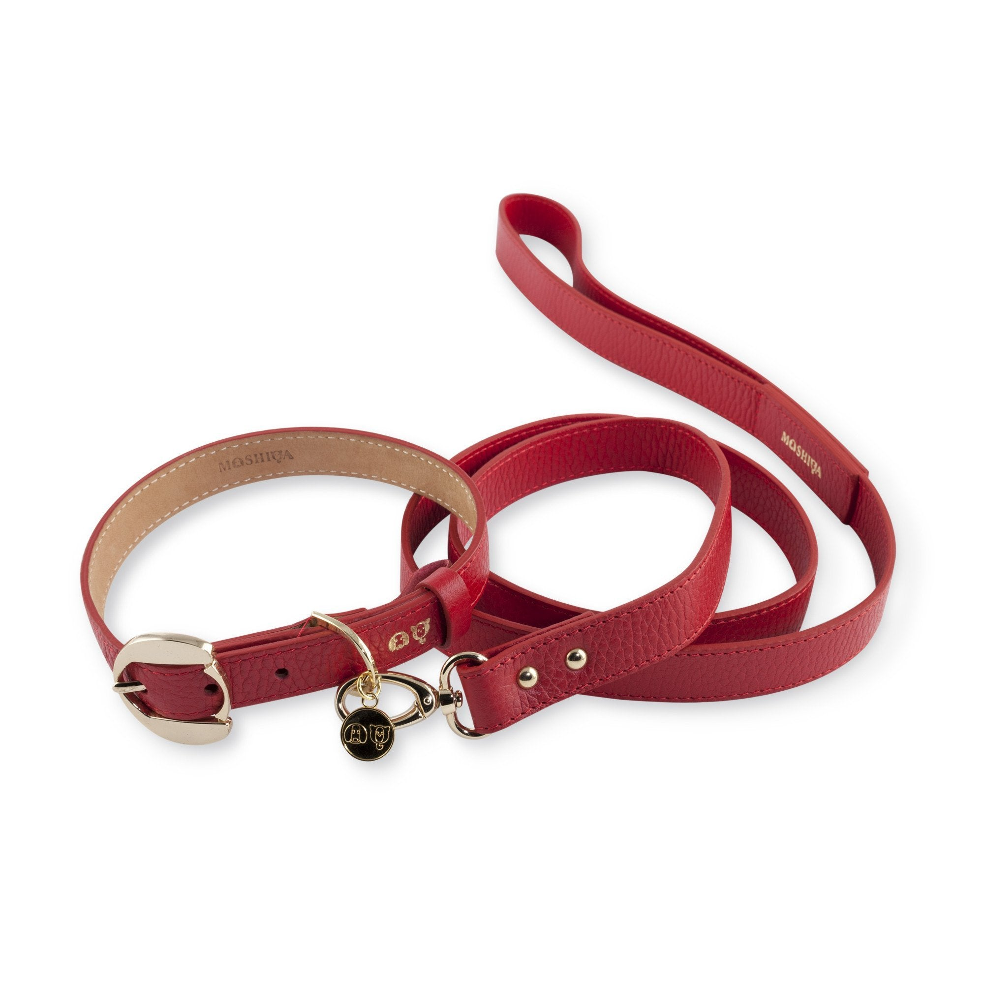 Moshiqa Red and Gold Leather Dog Collar and Lead