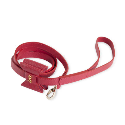 Moshiqa Red Bisou Gold Dog Lead with Bow