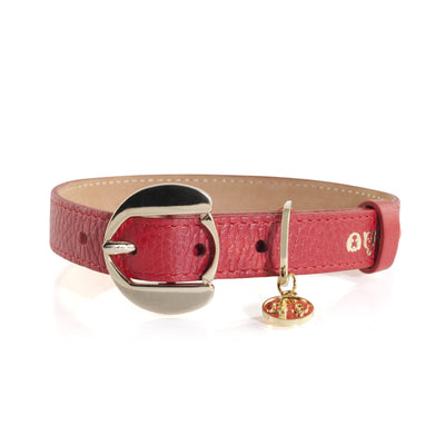 Moshiqa Red Leather Collar With Gold Hardware