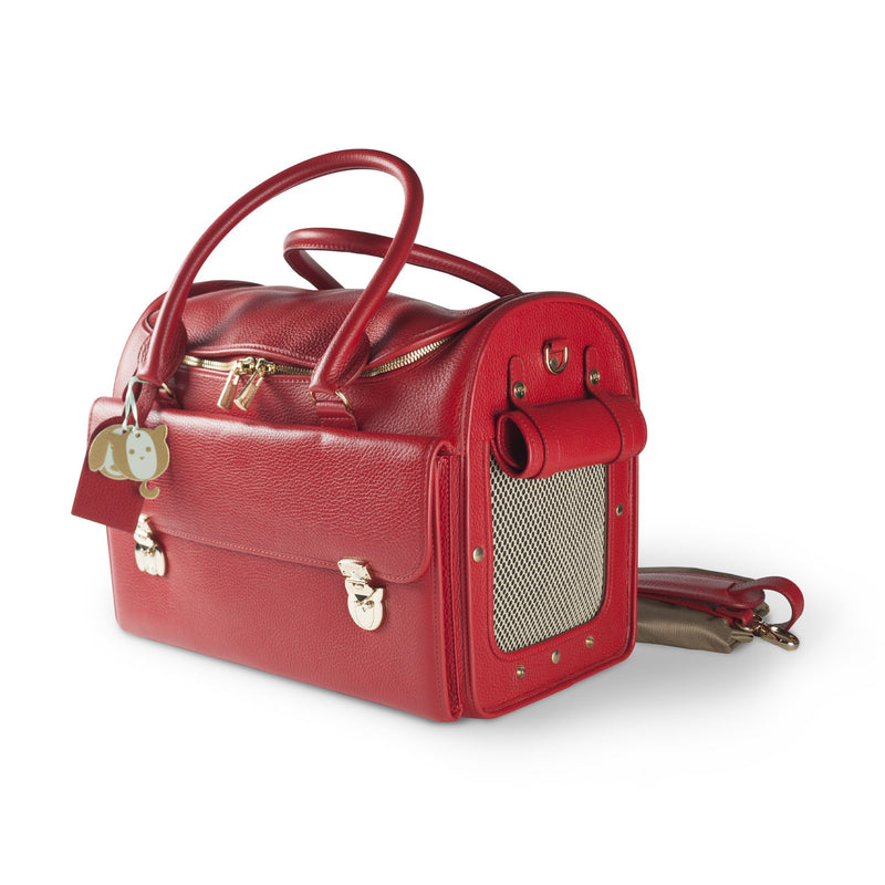 Moshiqa Red Leather Luxurious Pet Carrier