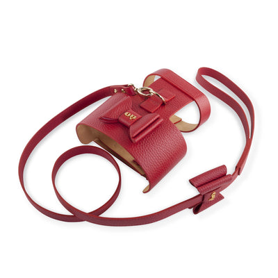 Moshiqa S / Slim Bijou Red Leather Dog Harness with Matching Lead