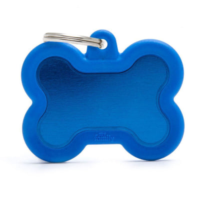 My Family Aluminium Blue Bone With Rubber Dog I.D. Tags 4F4B