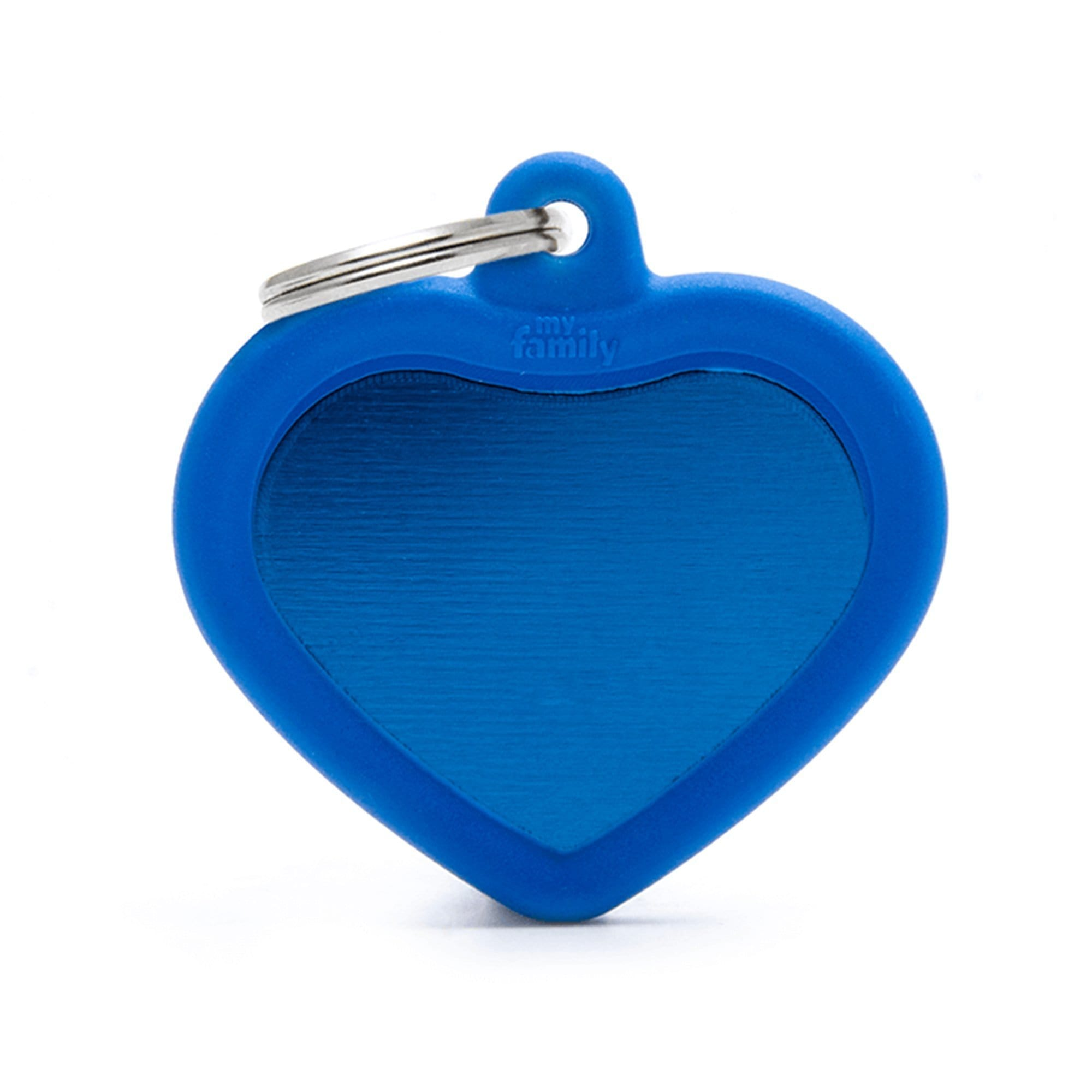 My Family Aluminium Blue Heart With Rubber Dog I.D. Tags 3F3B