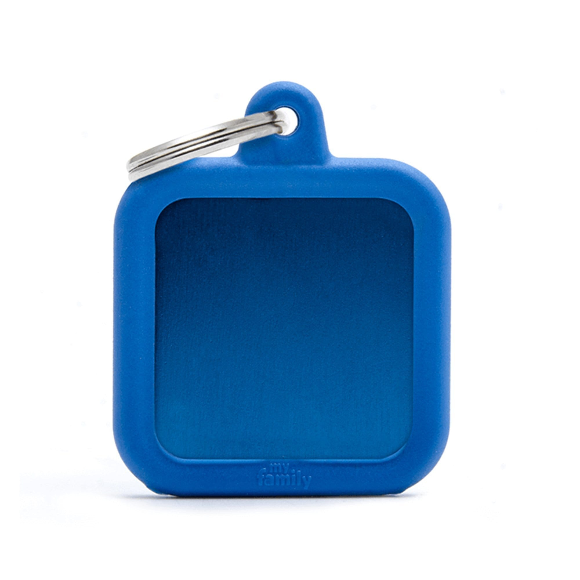 My Family Aluminium Blue Square With Rubber Dog I.D. Tags 3F3B