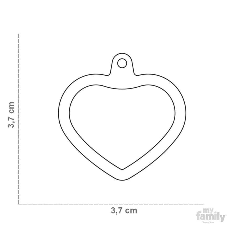 My Family Aluminium Pink Heart With Rubber Dog I.D. Tags 3F3B